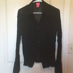 Tops - Sheer Victorian Button Up Blouse-black